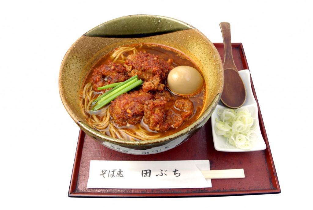 Oh!!辛チャレンジ「そば処 田ぶち」(調布市菊野台2)の「oh!!辛 赤唐蕎麦」(980円)